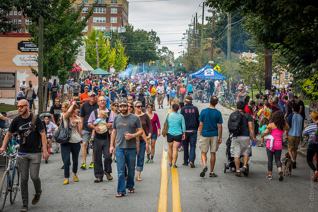 Photograph of people walking in the Atlanta Streets Alive event in 2014